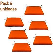 Pack 6 cojines para sillas de jardín color naranja | Tamaño 44x44x5 cm | Repelente al agua | Desenfundable | Portes gratis