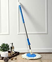 Fuscia® Spin Mop Extendable Handle with Microfibre Refill – Stainless Steel – White