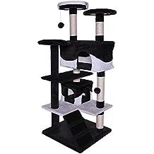 Dibea KB00308 Árbol Rascador para Gatos, Altura 130 Cm, Escalador Grande Color Negro y Blanco