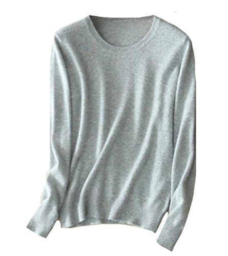 CuteRose Womens Plus Size Eco Fleece Sweater Available in Many Colors Light Grey M (Coat Petite Pullover)
