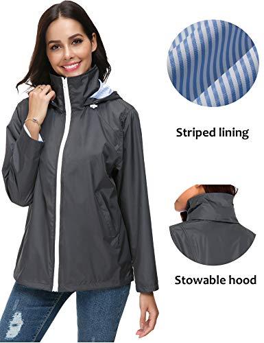ZHENWEI Regenjacke Damen Atmungsaktive Golf Regenmantel Outdoorjacke Windbreaker Outdoor Kapuzenjacke Grau - 2