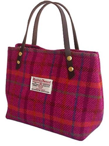 Harris Tweed Edinburgh , Damen Henkeltasche Pink Pink Heather plaid