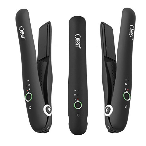 OBEST NEW Hair Straightener, Mini Cordless Hair Iron With Power Bank Function Portable Travel Straightener For Hair Straightening Easy to Carry with Travel Bag (black)