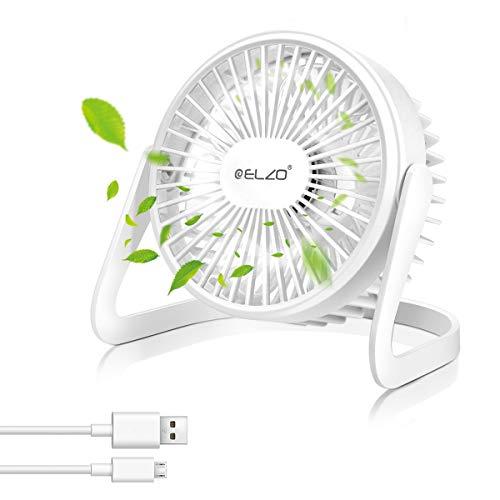 ELZO Ventilador USB, Ventilador USB Mini Ventilador de Mesa Portátil Rotación 360º...