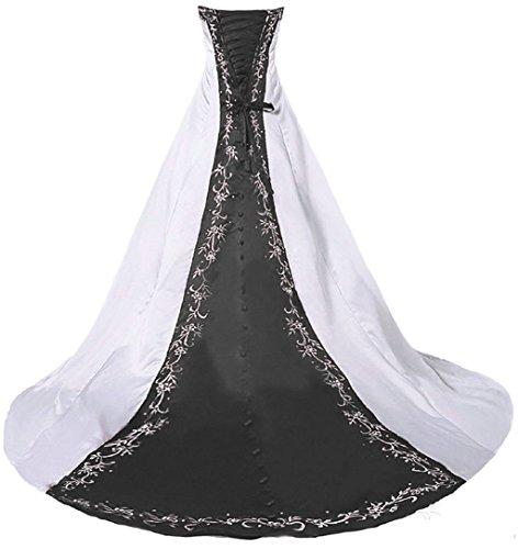 Vantexi Damen Trägerloses Stickerei Brautkleid Hochzeitskleider Weiß Schwarz 48