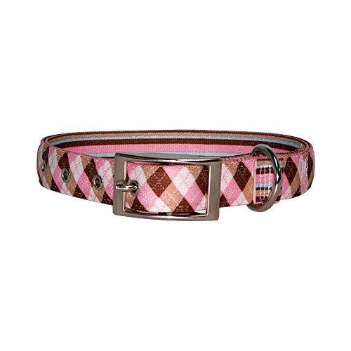 Yellow Dog Design Uptown Hundehalsband, Medium, Pink/Braun Argyle auf Streifen (Uptown Kragen Hund)