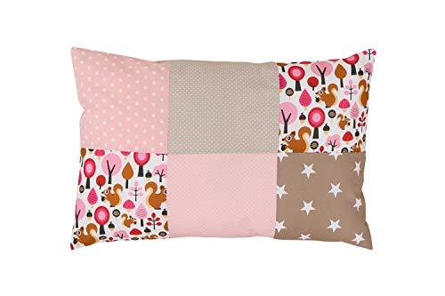 Funda de almohada para bebé de ULLENBOOM ® de 40x60 cm con beige ardilla con cremallera; apta...