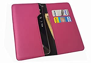 nKarta ™ OD Pink Flip Flap Wallet Pouch Mobile Cover Case with Card holder Slots for Acer Liquid M330