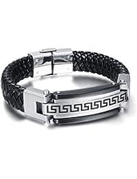Vnox Pulsera de cuero griega trenzada del brazalete del pun ¢ o de la textura de la PU negra del acero inoxidable de los hombres,plata