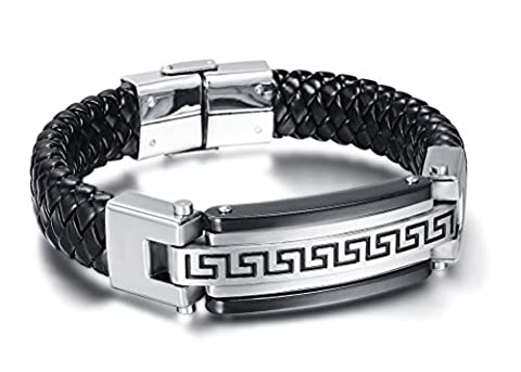 Vnox Men's Stainless Steel Braided Black PU Leather Greek Key Texture Cuff Bangle Bracelet,Silver,8.4