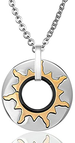Aooaz Stainless Steel Mens Pendant Necklace Sun-God Coin Hollow Round