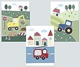 LALELU-Prints Kinderzimmer Bilder 4er Set DIN A4 I Babyzimmer Dekoration Junge I Fahrzeuge (Fahrzeuge)