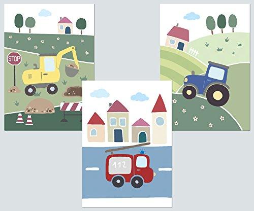 LALELU-Prints Kinderzimmer Bilder 3er Set DIN A4 I Babyzimmer Dekoration Junge I Fahrzeuge (Fahrzeuge)