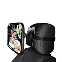 Baby Car Backseat Safety Mirror, Wide Convex Mirror, Adjustable Shatter Proof, Give Clear View of Infant in Rear Facing Car Seat