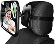 Baby Car Backseat Safety Mirror, Wide Convex Mirror, Adjustable Shatter Proof, Give Clear View of Infant in Re