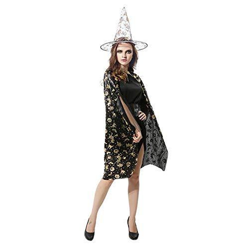 (BHXUD Halloween-Kostüm Erwachsene Kürbis-Mantel Show Ball Kürbis Cape Hat,Black)