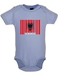 Albanie   Albania - Drapeau Code Barre - Bébé-Body - 7 Couleur - 0 2e48a448e48