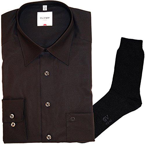 Olymp Hemd Luxor Comfort Fit - langarm, Kent Kragen, schwarz + 1 Paar hochwertige Socken, Bundle Schwarz
