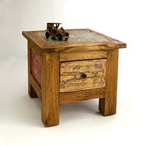 SLKRetail Table Basse d'Appoint Carrée en bois avec tiroir Fait à 100% en Bois Recyclé 50 L x 50 P X 41 H