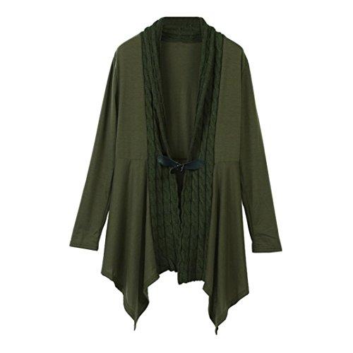 Tonsee Mode féminine sueur à manches longues et décontracté outwear cardigan tricoté Armée verte