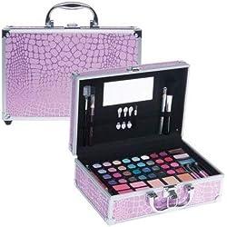 Exklusive Beauty Kosmetik Make-up Koffer zebramuster pink Schminkkoffer 42 teiig