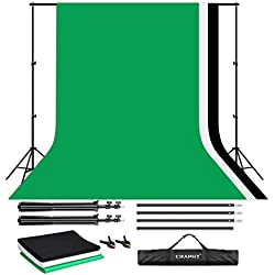 CRAPHY 3Mx2M Fond Photo Studio, Support Système de Toile de Fond avec 3x3Mx2M Fond Photo Moussline(Vert/Noir/Blanc) + 1 Support de Fond + 2 Pinces + 1 Sac de Transport