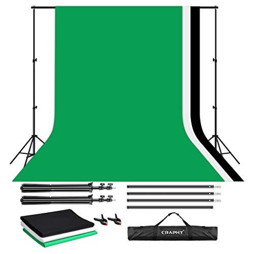 CRAPHY Fondale Fotografico Kit 3m x 2m, Sfondo Supporto Studio Portatile Mussola - Sistema di Supporto Fondo con 3 Fondale 2.8m x 1.8m (Verde, Nero e Bianco), 2 Morsetti e Borsa da Trasporto