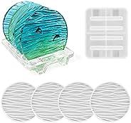 ريسينوورلد كوستر ريتينغ، 4 عبوات قوالب دائرية على شكل موجة مع 1 قطعة حامل قاعدة الكوب، قوالب سيليكون كوستر لصب