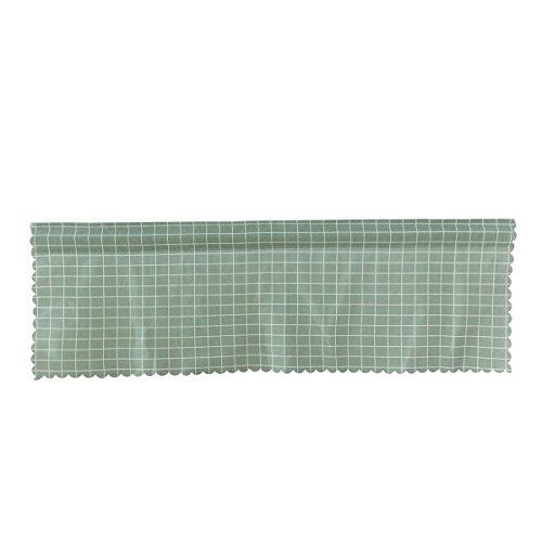 VORCOOL Fenster Kurze Vorhänge Dekorative Sun Proof Shade Bildschirm Purdah Kurze Vorhang Valance für Küche Balkon Home 145x45 cm (Green Grid)