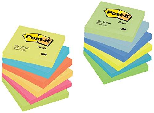 Post-it 654ENDRP Haftnotiz Promotion Rainbow (76 x 76 mm, farbig, 100 Blatt, 12 Blöcke) Vorteilspack