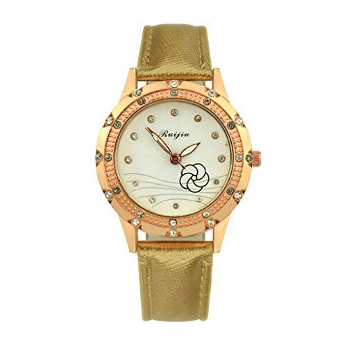 VECOLE Uhren Damen Einfache Casual Blumenmuster Strass Inlay Dial Lederband Uhr Mode Armbanduhr Quarz Analoganzeige Uhr(Gold) - Uhren Damen Diamanten Ebel