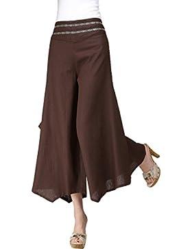 Feoya Étnico Faldas Pantalones Anchos Largos Holgados Palazzo Casual de Algodón para Mujeres Chicas