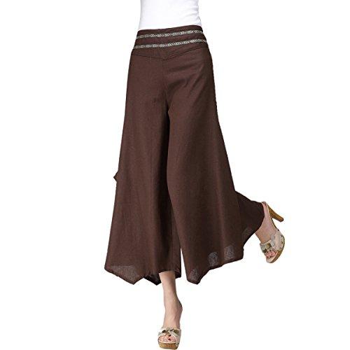 Feoya Damen Weite Bein Hose Sommer Casual Baumwolle Hosen Elastische Taille Hosenrock Lang Hose (Ziehen Bein Weites)