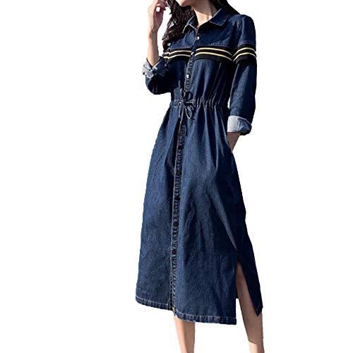 leid Langes Elegantes Kleid Frauen Solide V-Ausschnitt Lange Knopfleiste Taille Jeanskleid Denim Blusekleid Partykleid ()