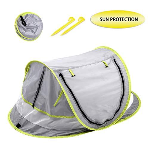 Locisne Baby Strandzelt,tragbares Pop up Strand Reisezelt Bett-Sonnenschutz, der Säuglingsstrand Krippen Moskitonetz Sonnenschutz Zelt mit 2 Klammern faltet