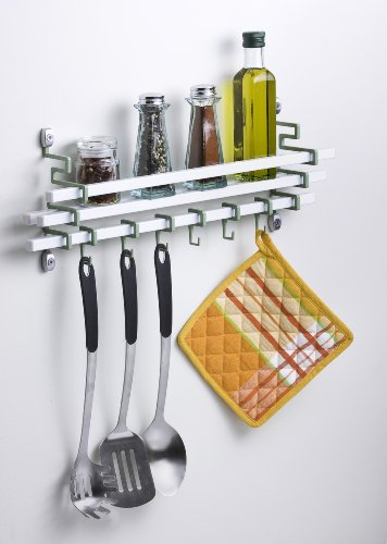 Assa Design Decorative Wall Mounted Spice Rack with Utensil Hooks(White)