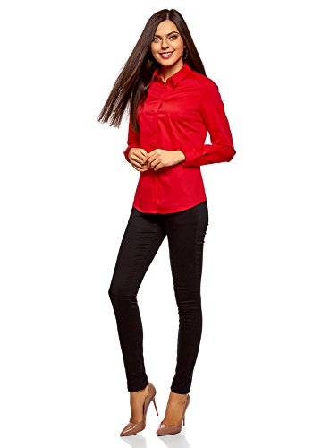 oodji Ultra Donna Camicia Basic Slim Fit Rosso (4500N)