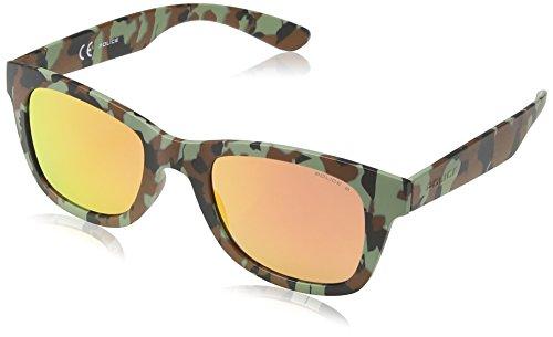 Police occhiali da sole s1944 exchange 1 wayfarer, green/black/brown camouflage frame/light red/pink mirror lens