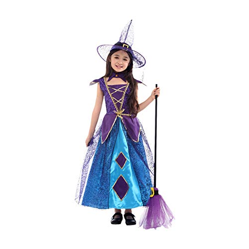 Yaxuan Hexen Kind Halloween Mädchen Magic Fancy Dress Up Party Kostüm & Hat Halloween/Karneval/Kindertag Festival Halloween-Kostüme,4,M