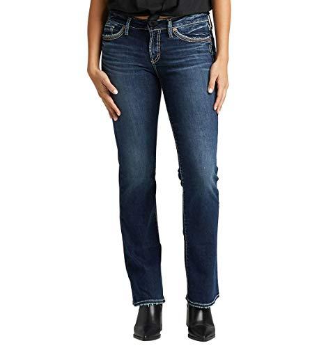 Silver Jeans Co. Damen Suki Jeans, Kontrast-Indigo, 32W x 33L