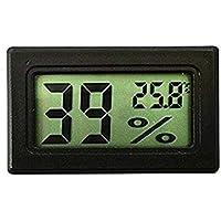 Eidyer Termómetro digital de humedad y temperatura LCD, termómetro digital Mini higrómetro y medidor de humedad Lecturas precisas (° C / ° F) Registros min / máx. Para invernadero, automóviles, hogar, oficina (negro)
