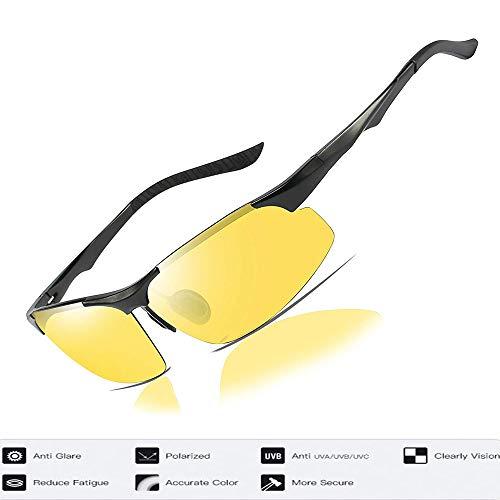 Palazen Nachtsichtbrille HD Vision polarisierte Gläser Nachtfahrbrille für Männer und Frauen, gelbe Gläser