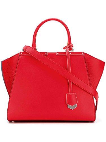 Fendi Leder Handtasche Damen Tasche Bag 3jours Rot