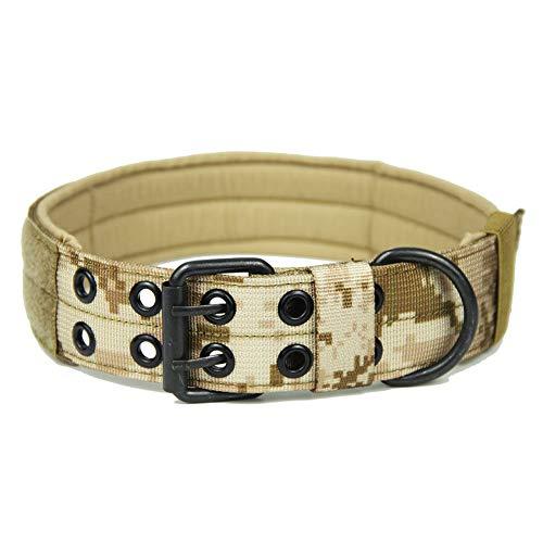 ZHANGZHIYUA Hundehalsband Outdoor Military einstellbar mit Metall D Ring & Schnalle 3 Größen,B,M -