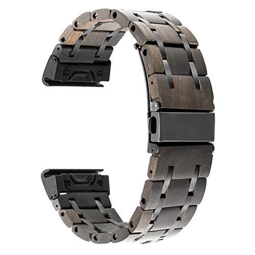 TRUMiRR Armband kompatibel mit Fenix 5 Holz Armband, 22mm Natur Holz & Edelstahl Armband Quick Release Easy Fit Uhrenarmband für Garmin Fenix 5/Forerunner 935 (FR935)/Approach S60