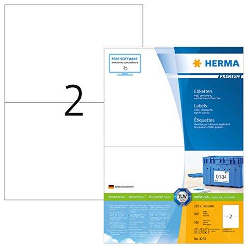 -Etiketten selbstklebend (210 x 148 mm, Format DIN A5 auf DIN A4 Premium Papier, matt) 200 Stück auf 100 Blatt, weiß, bedruckbar, Webstamp-geeignet (CH) (Avery-etiketten-kreis)