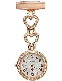 SODIAL(R) Ladies Heart Steel Crystal Nurse Doctor Paramedic Tunic Brooch Quartz FOB Pocket Watch Rose gold