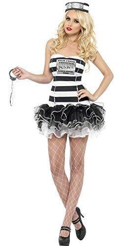 Sexy Outfit Räuber (Damen Sexy Fever Überführen Cutie Gefangene Inmate Gefängnis Polizisten & Räuber Tutu Kostüm Kleid Outfit - Schwarz/weiß,)