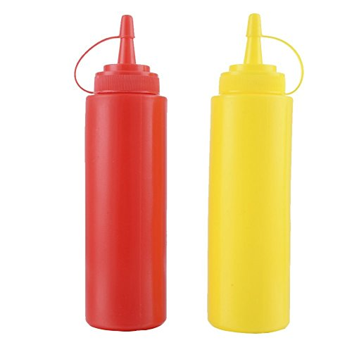 Set de 2botellas de salsa de plástico Squeeze condimento Dispensador de recipiente para mostaza Ketchup aceite miel aliños