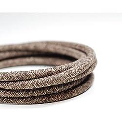 Premium italiano vintage tejido Flex iluminación Cable 3Core | marrón